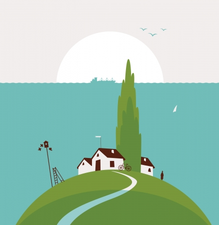 weathervane: seascape with the countryside and poplar trees on the hill Illustration