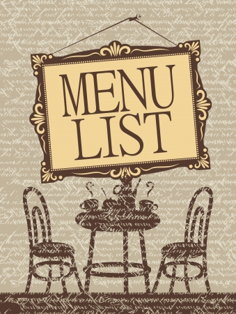 banner with the interior of the cafe and the picture labeled Menu list Vector