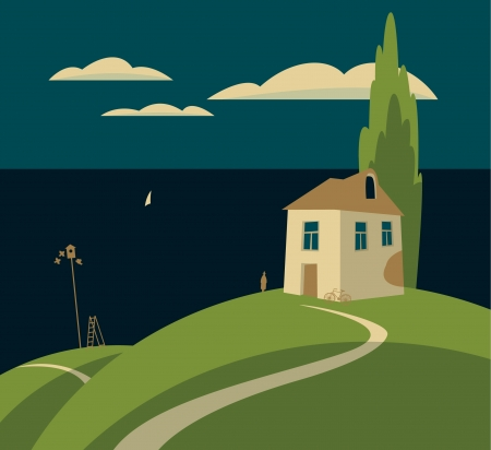 landscape with a house by the sea and clouds Stock Vector - 18518220