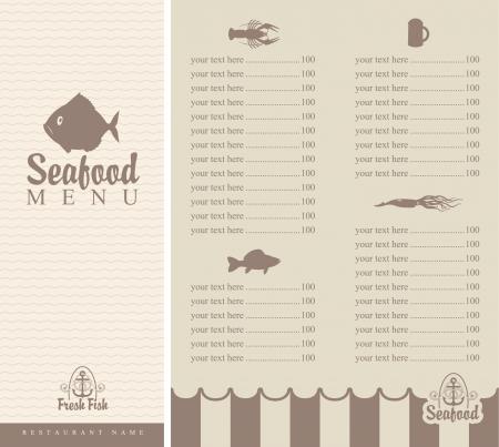 folleto menú de productos del mar con peces pequeños Ilustración de vector