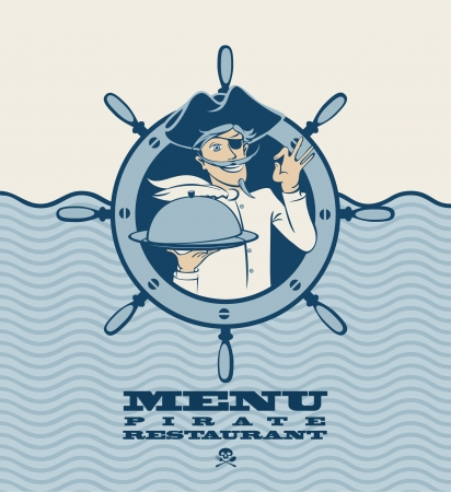 pirate menu with the ship s cook  Vector