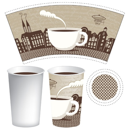 paper cup for tea or coffee with a picture of the old town Vector