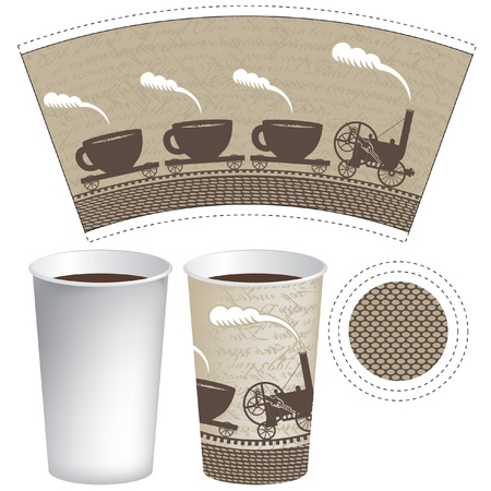 pattern paper cup of tea or coffee with an old steam locomotive Illustration