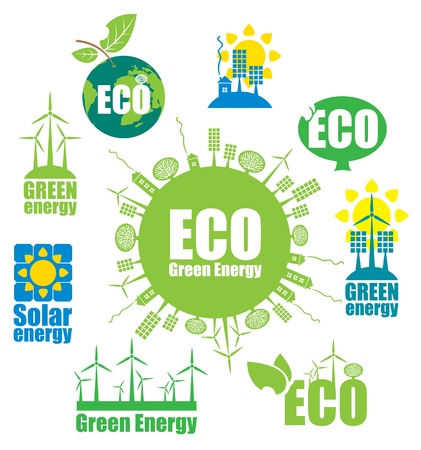 set of icons on the theme of environmental protection and alternative energy