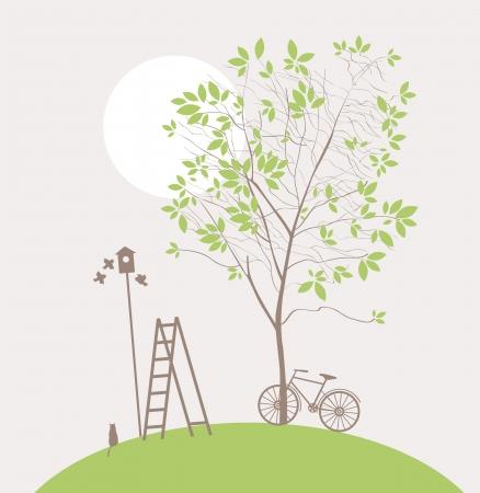 oiseau dessin: paysage de printemps avec l'arbre vert et le vélo