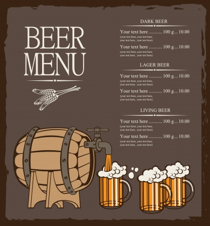 vasos de cerveza: men� para barril de cerveza y vasos Vectores