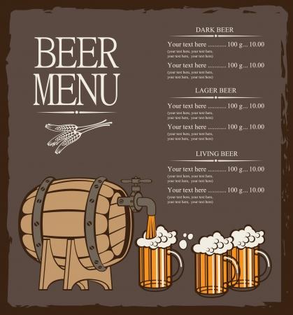 menu for beer keg and glasses  矢量图像