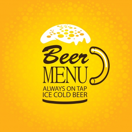 glass of beer menu words with foam on yellow background