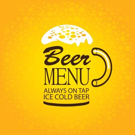 cerveza: vidrio de las palabras del men� de cerveza con espuma sobre fondo amarillo Vectores