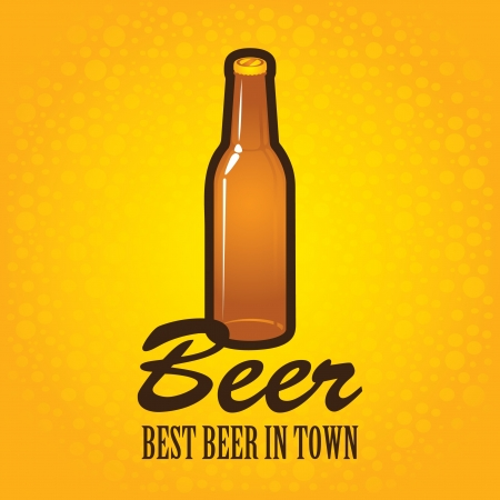 banner with a bottle of beer on a background with bubbles Vector