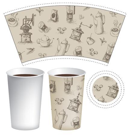 patrón taza de té o café con el fondo de los utensilios de cocina Ilustración de vector