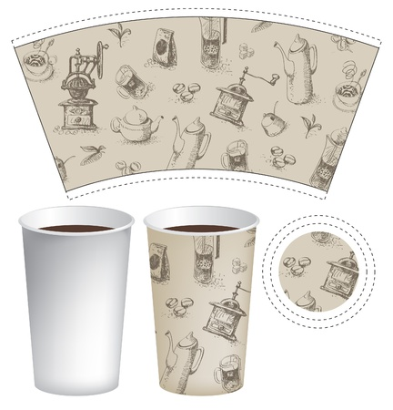 coffee maker: pattern cup of tea or coffee with the background of cookware