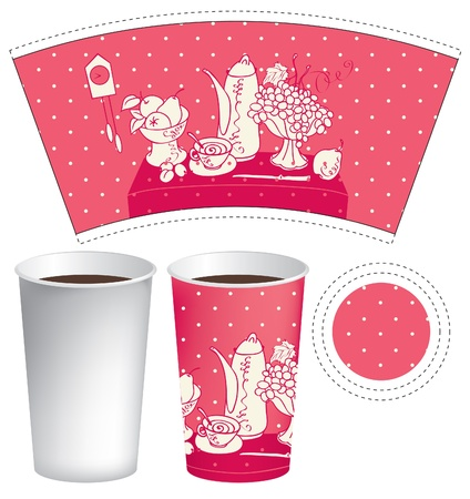 pattern for a paper cup of tea with a still life of cutlery Vector
