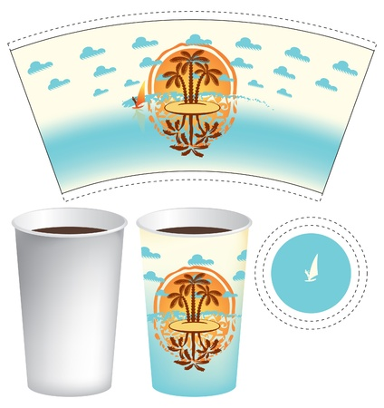 surf shop: cup of tea or coffee with an island in the sea and surfers Illustration