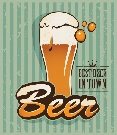 Retro banner with a beer Stock Vector - 18881162