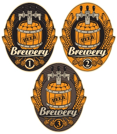 set oval label with a beer keg and the word brewery Vector