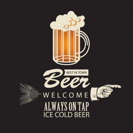 brouwerij: Banner met een biertje en een wijzende vinger