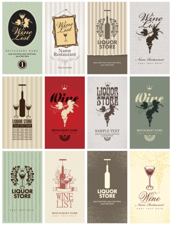 corkscrew: set of business cards on Wine Illustration