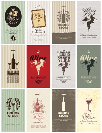 set van visitekaartjes op Wijn Vector Illustratie