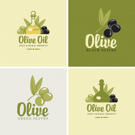 olive oil bottle: set of four banners on the theme of olives and oil Illustration