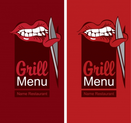 Grill menu with a mouth eating meat Vector