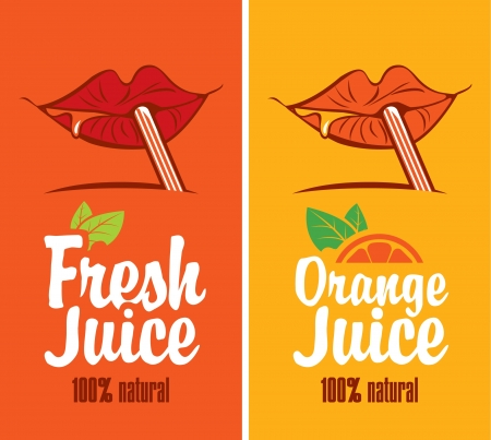 juice bar: mouth is drinking orange juice through a straw Illustration