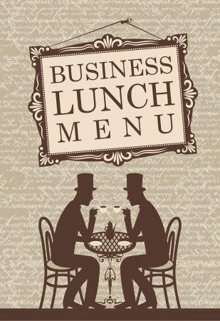 british food: Menu for business lunch, talking with two gentlemen  Illustration