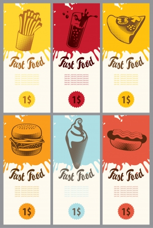 set of business cards for fast food  Vector