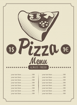 old kitchen: price menu with a piece of pizza