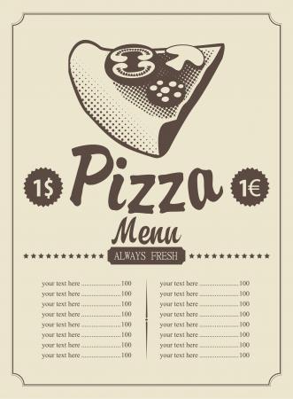 retro kitchen: price menu with a piece of pizza