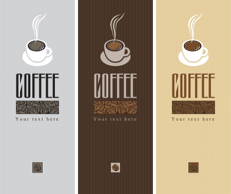 milk tea: Three retro banner with a cup of coffee
