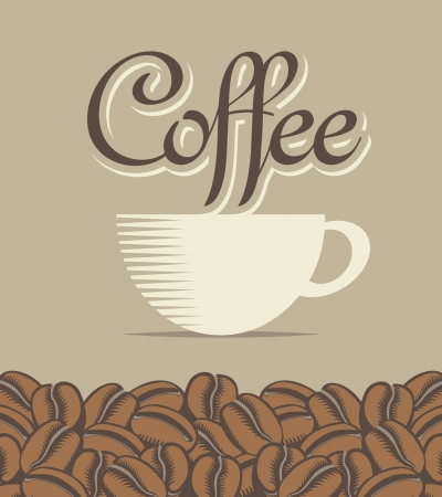banner with a cup of coffee and beans Vector