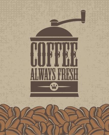molinillo: bandera con un molinillo de café y granos Vectores