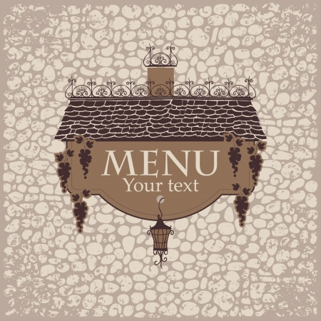 banner for menu with the old roof lantern and grapes on a stone wall background Vector