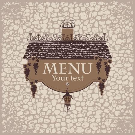 bannière pour le menu avec la vieille lanterne de toit et de raisins sur un fond de mur de pierre