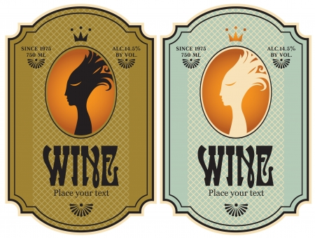 oval  alcohol: two labels for wine with the profile of a girl