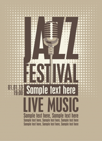 poster for the jazz festival with a retro microphone Vector