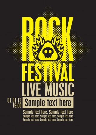poster for a rock festival with skull on fire Vector