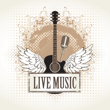 acoustic: banner and wings with a guitar  Illustration