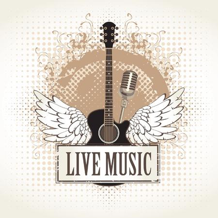 gitara: banner i skrzydła z gitarą