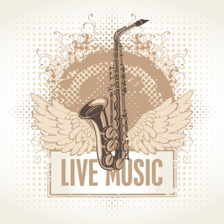 saxophone with wings and the words Live Music Vector