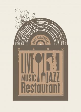 jazz club: menu pour le restaurant avec des disques vinyles de musique et couverts