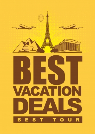 agencia de viajes: banners mejores ofertas para viajar con monumentos arquitectónicos