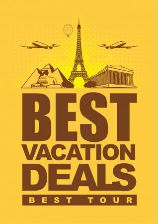 agence de voyage: offres de bannières pour voyager avec des monuments architecturaux