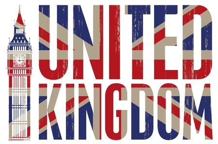 inscription United Kingdom with the Big Ben and flag Vector