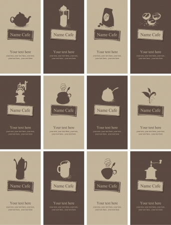 hot cocoa: set of business cards on the topic of tea and coffee Illustration