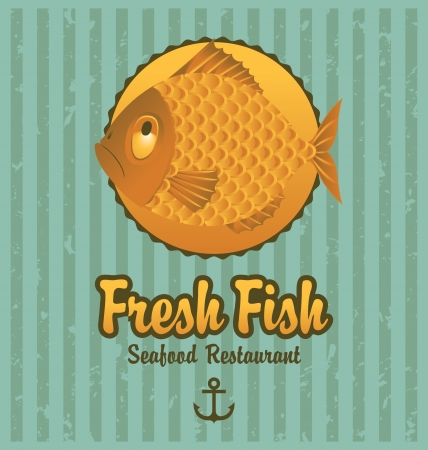 Banner on the background of the fish Stock Vector - 19433634