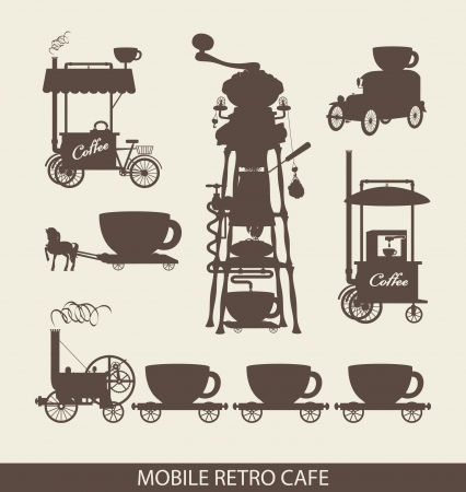 set of mobile cafe in retro style Vector