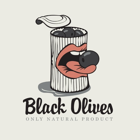 sexy tongue: Conserve of black olives and mouth Illustration