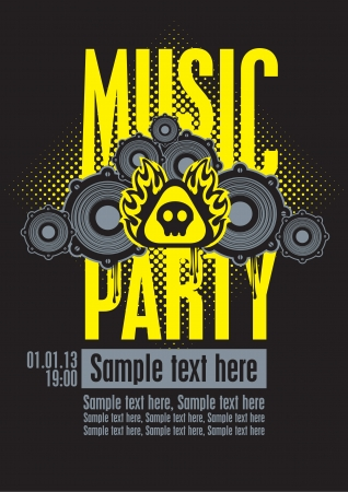 Playbill for the musical party with speakers and a skull Vector